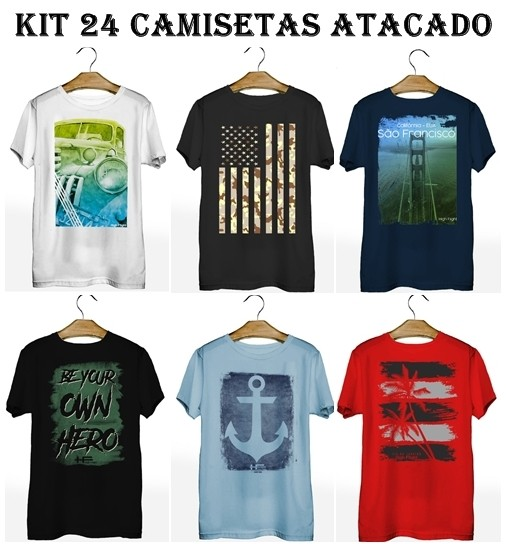 Kit 24 Camisetas T-Shirt Plus Size para Revenda Atacado  - HF | High Flight