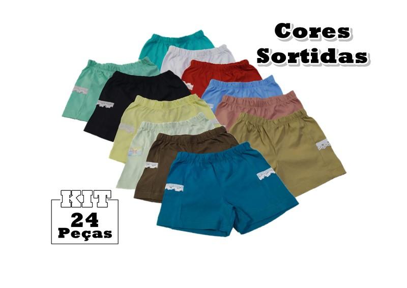 Kit 24 Shorts Bebê Menina Infantil Algodão Fase Crescimento  - HF | High Flight