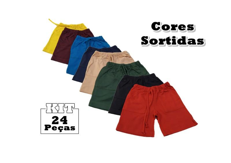 Kit 24 Shorts Bebê Menino Infantil 100% Algodão Crescimento  - HF | High Flight