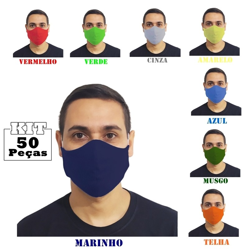 Kit 50 Máscaras Tradicionais 100% Algodão Atacado p Revenda  - HF | High Flight