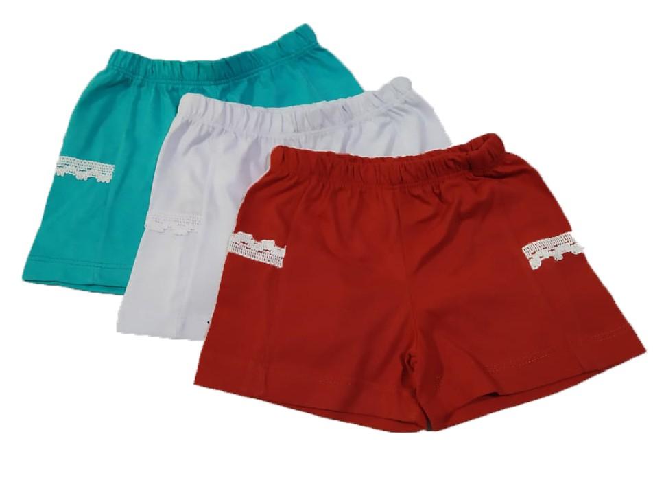 Kit 5 Shorts Bebê Menina Infantil 100% Algodão Atacado  - HF | High Flight