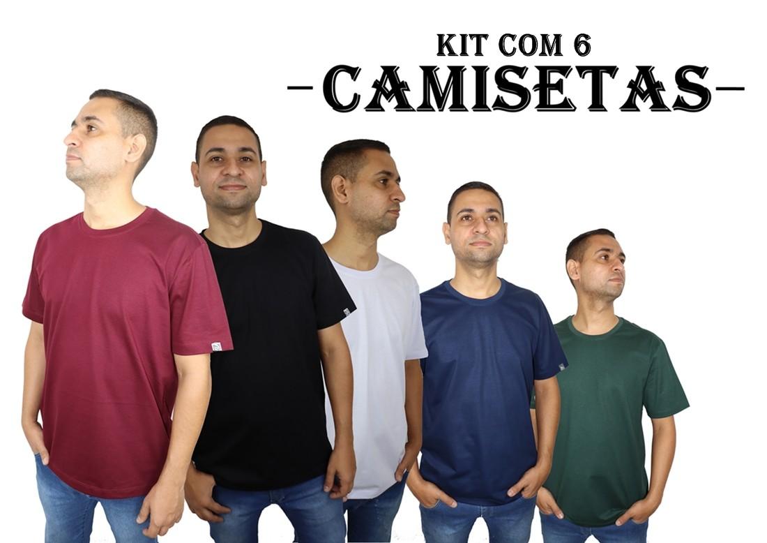 Kit 6 Camisetas Básicas Masculina 100% Algodão  - HF | High Flight