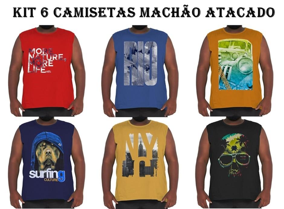 Kit 6 Camisetas Machão Algodão Plus Size p/ Revenda Atacado  - HF | High Flight