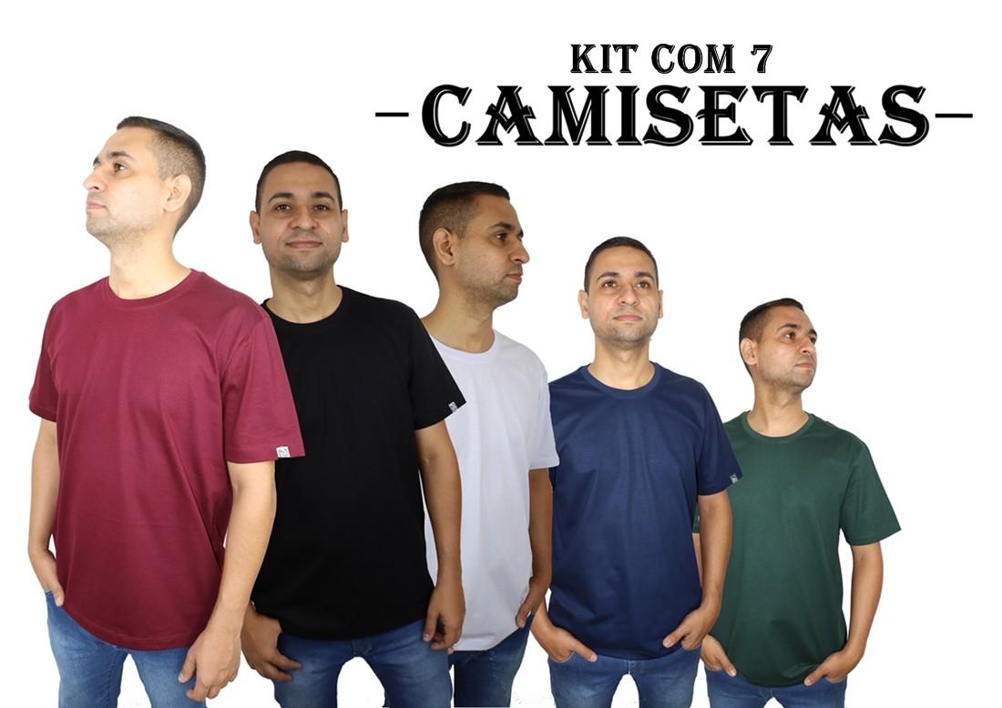 Kit 7 Camisetas Básicas Masculina 100% Algodão  - HF | High Flight