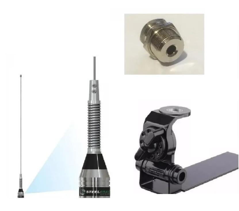 Kit Antena Enfeite P/ Picapes ou Caminhonentes Px Steelbras 0,62 Metros