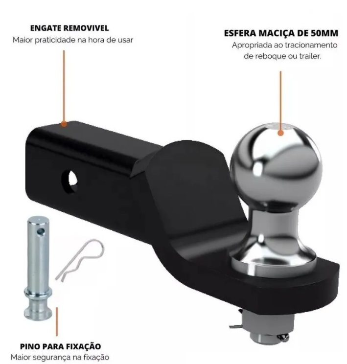 Ponteira Removivel Engate Reboque L200 Outdoor Sport Triton