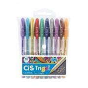 Caneta em gel 1.0mm Metálica Cis Trigel c/ 10 cores