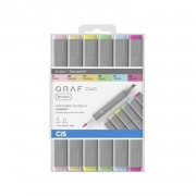 Marcador GRAF Duo Brush Cis c/6 cores pastel