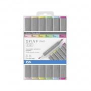 Marcador GRAF Duo Brush Cis c/6 cores pastel