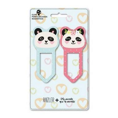 Clipe Porta-Recado Magnético Raizler Pandas
