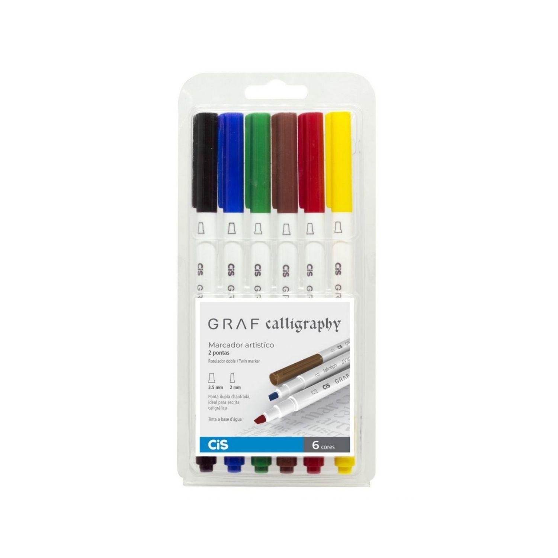 Marcador GRAF Calligraphy Cis c/6 cores