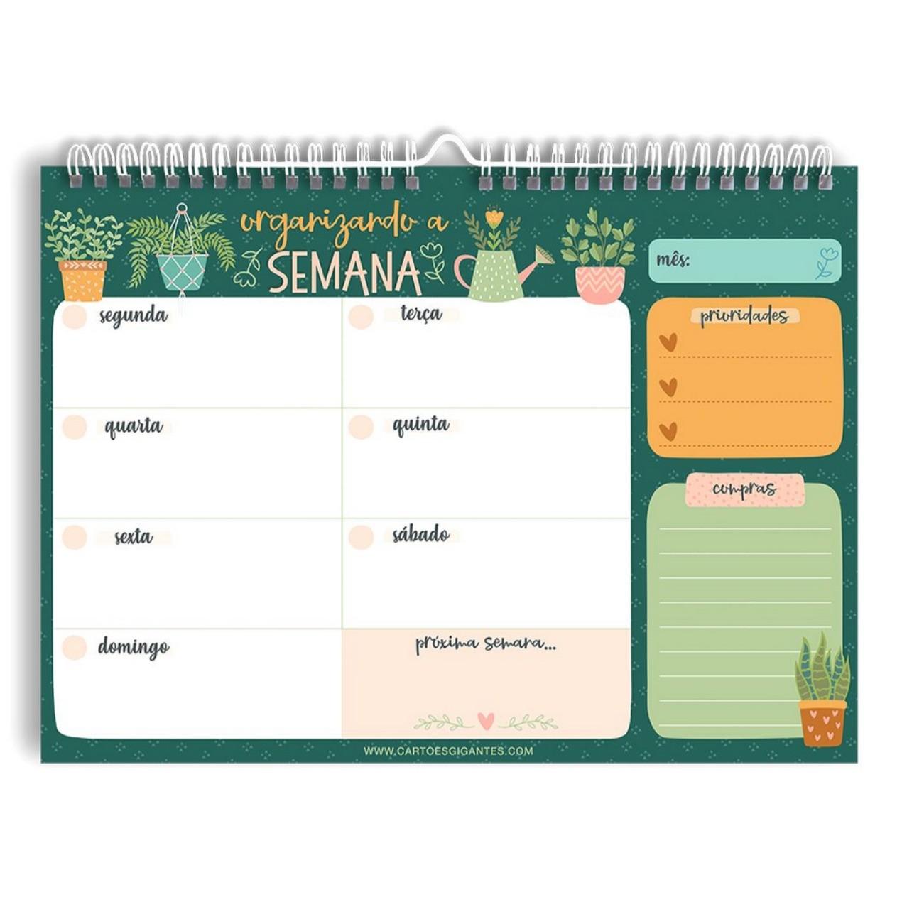 Organização Semanal - Cartões Gigantes - Wall Planner