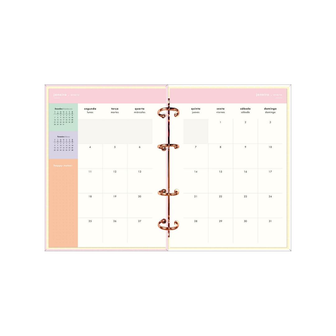 Planner Tilibra Argolado Happy Rosa  2021