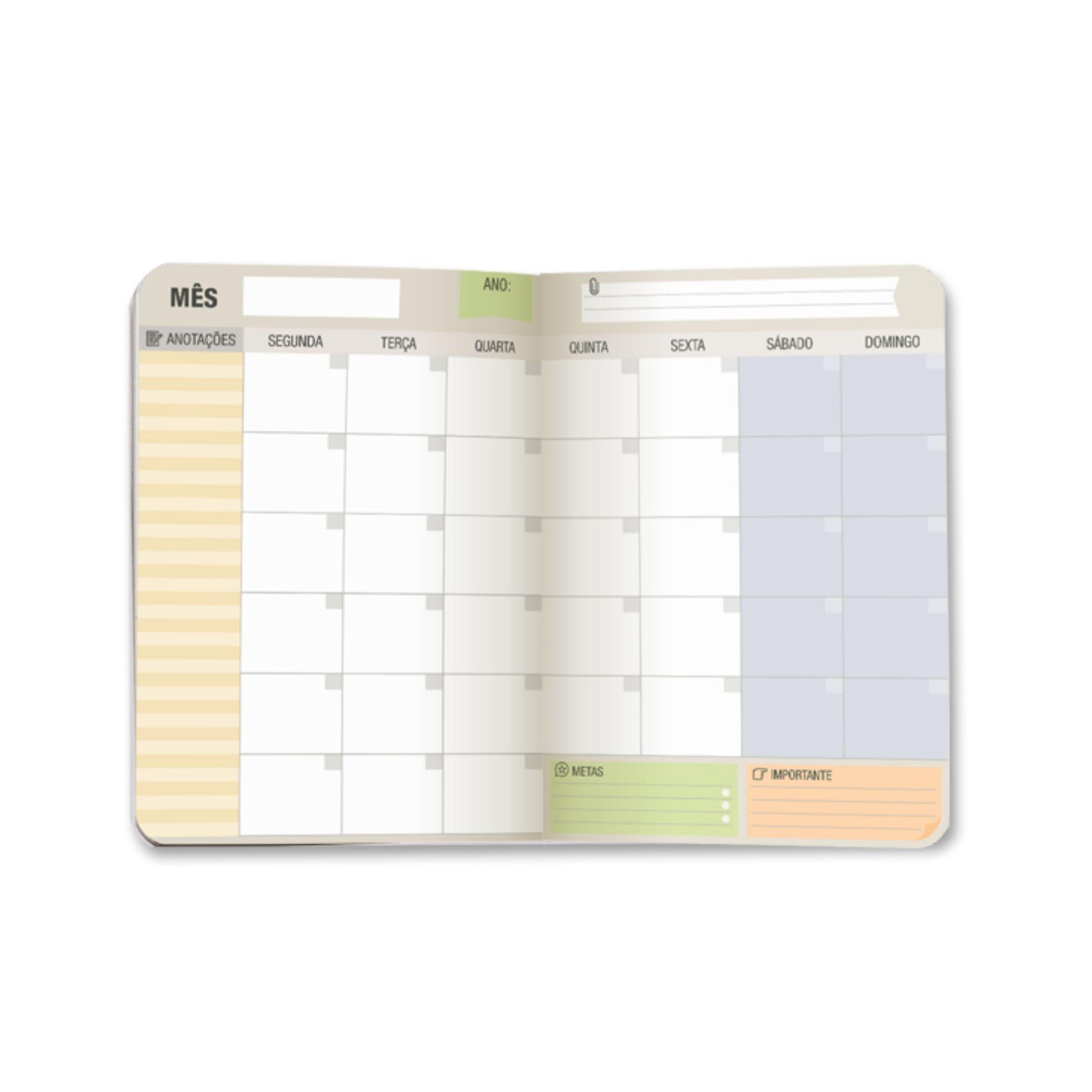 Planner Mensal Cartões Preto e Branco