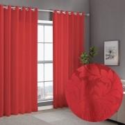 Cortina Vermelho Cetim Jacquard 5,50x2,80m com ilhós cromado exclusiva