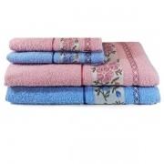 Jogo de Banho 4 peças / Azul e Rosa