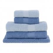 Jogo de banho Azul 5 pçs fio penteado canelado Buddemeyer