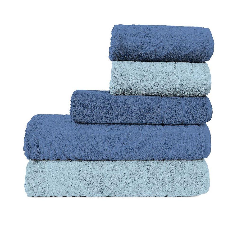 Jogo de Banheiro Atlântica: toalhas + tapete • Azul