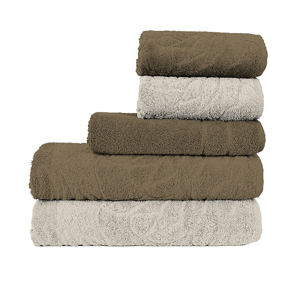 Jogo de Banheiro Atlântica: toalhas + tapete • Cáqui e Bege