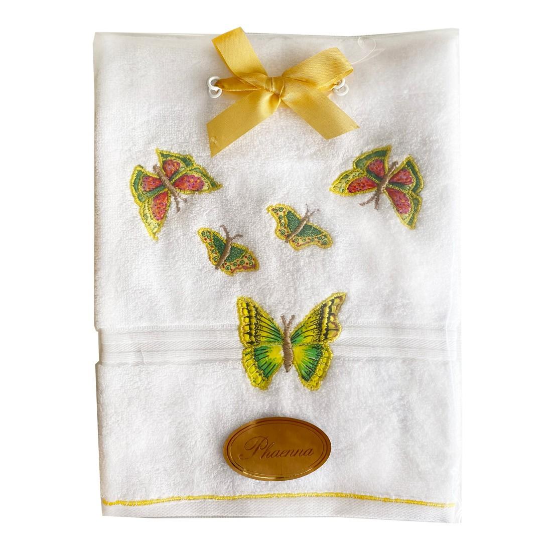 Toalha lavabo aplicado e bordado Sonho&Cia Borboleta Amarela