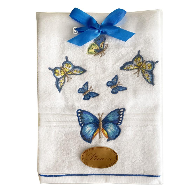 Toalha lavabo aplicado e bordado Sonho&Cia Borboleta Azul