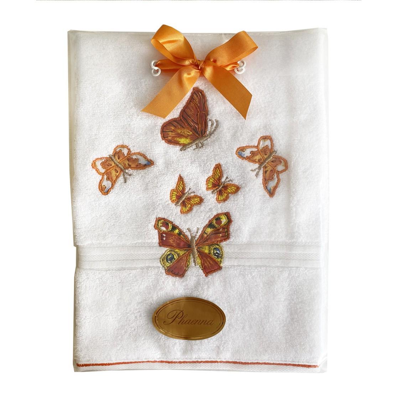 Toalha lavabo aplicado e bordado Sonho&Cia Borboleta Laranja