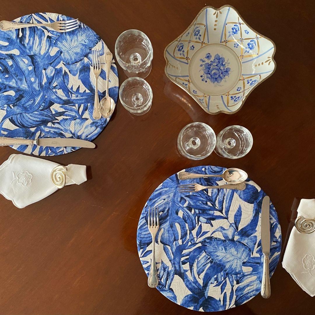 Sousplat Redondo Sonho&Cia estampa folha azul