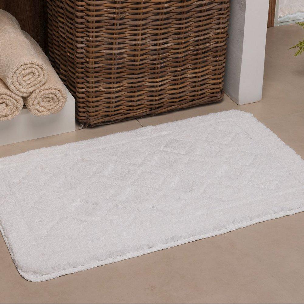 Tapete de banheiro antiderrapante 40x60cm • Branca