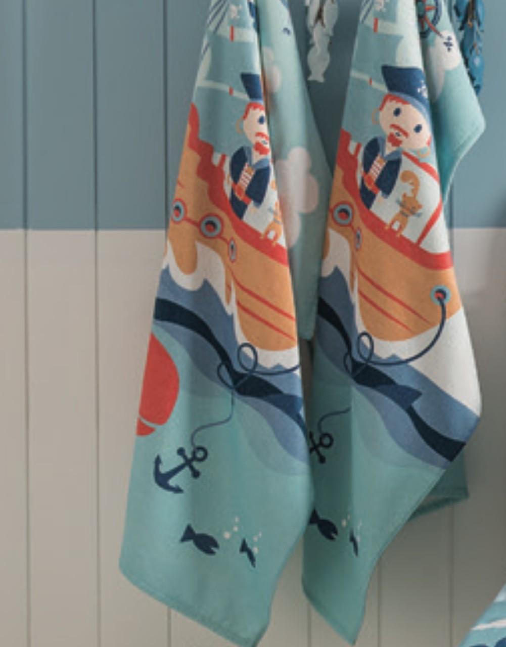 Toalha de praia aveludada infantil 70 x 140 cm Piratas
