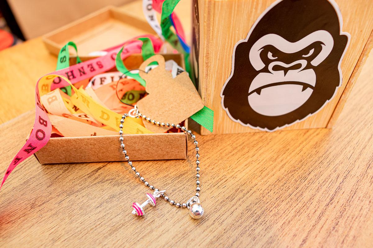 Pulseira de Bolinhas com Kettlebell bolinha + barra M pink