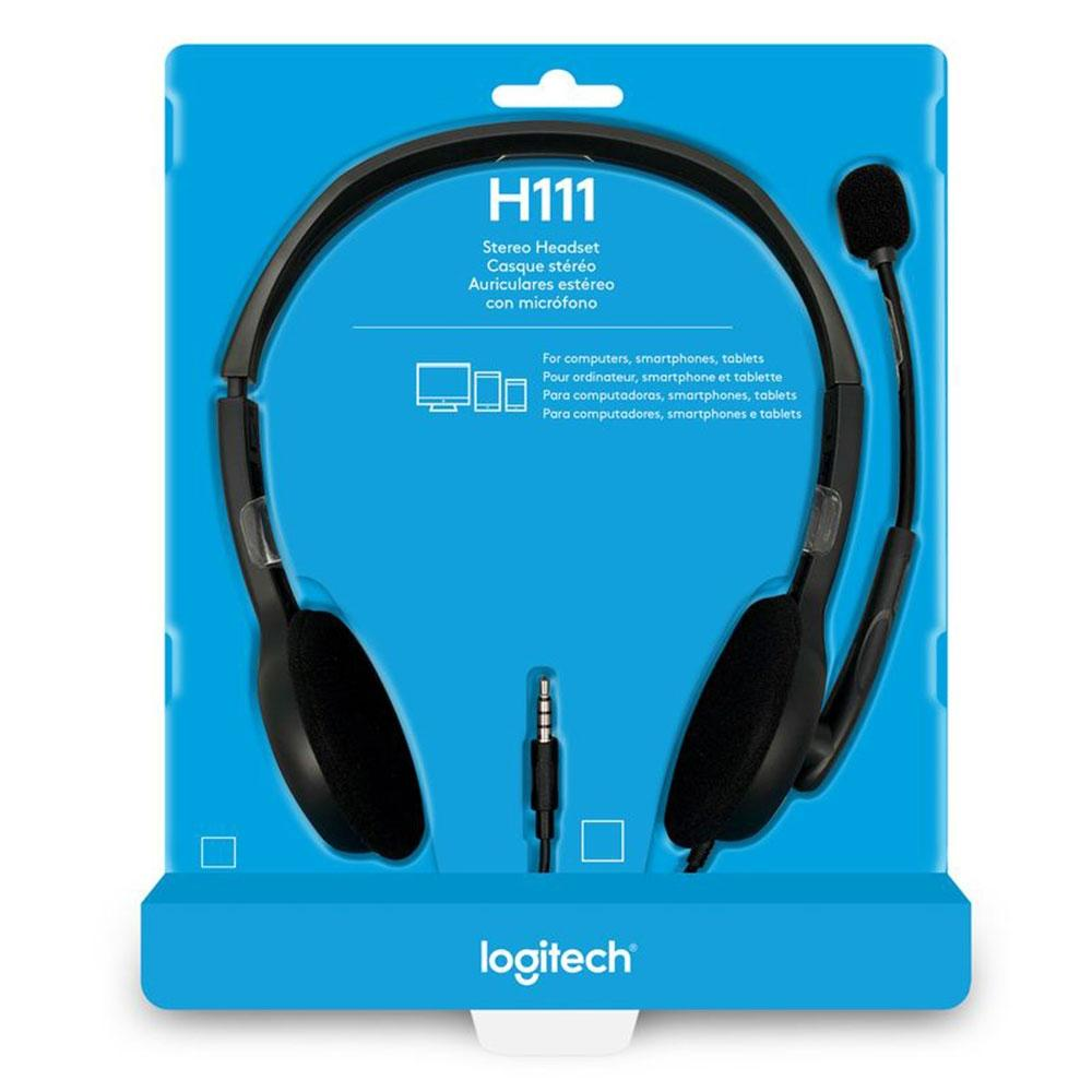 Headset Logitech H111 Estéreo Analógico P3 Cinza