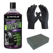 Kit Pneu Pretinho Power Tire 500ml Protelim Luva Aplicador
