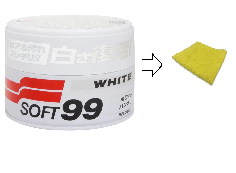 Cera Carnaúba Para Carros Brancos - 350g Soft99 White Wax+Flanela Protelim
