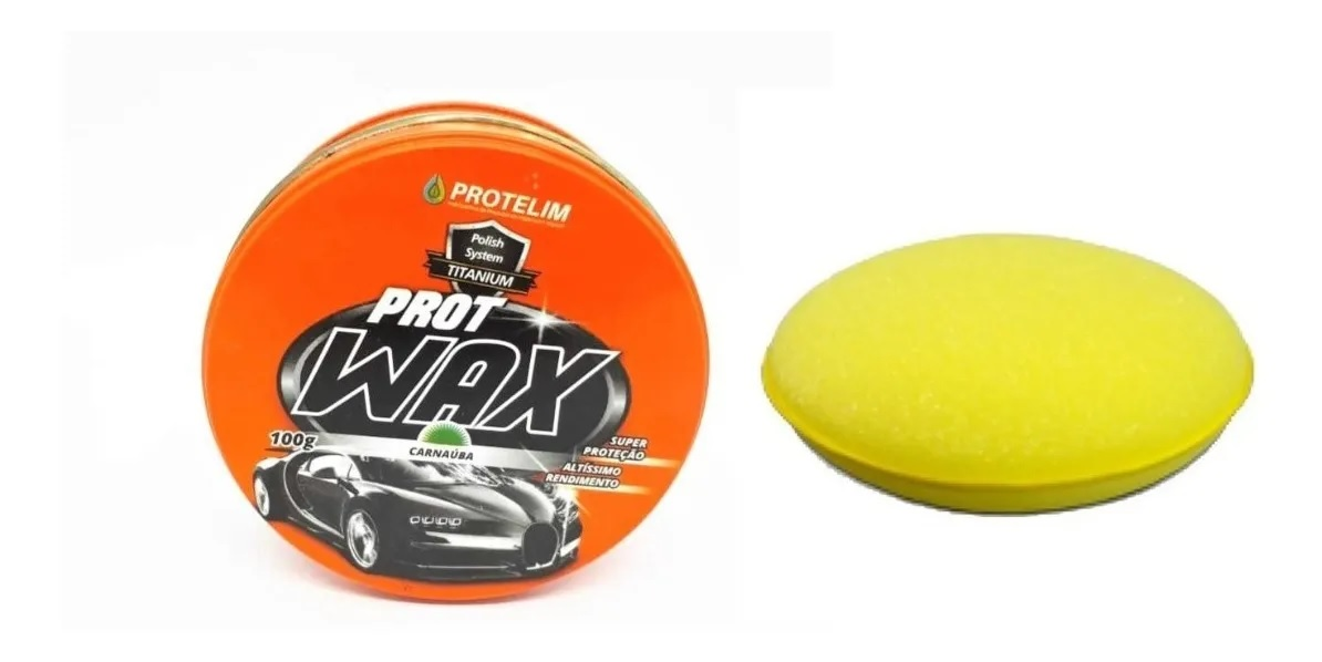 Kit Cera Prot Wax 100g Carnaúba+ Lavagem A Seco Automotivo Protelim 650ml