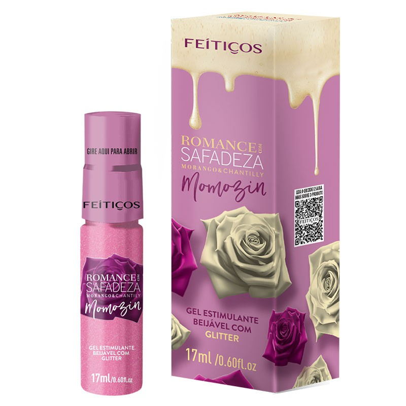 Romance com Safadeza Momozim Gel Excitante Beijável Morango e Chantilly 17ml