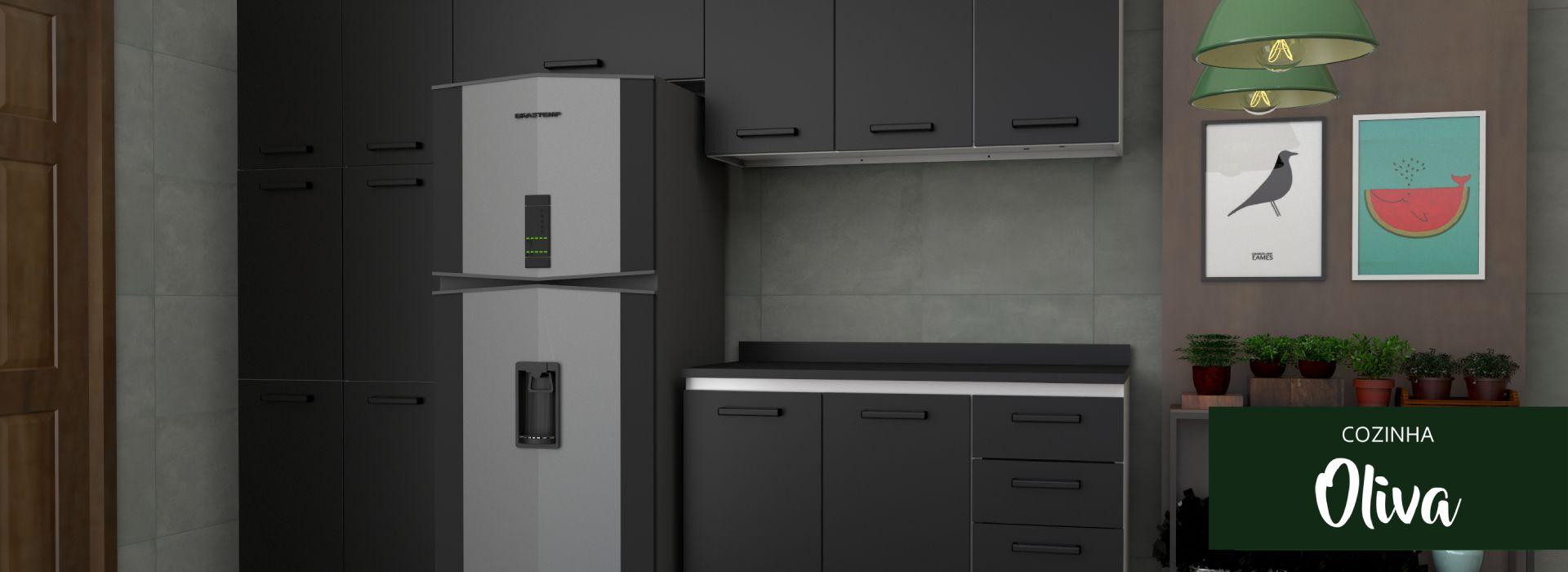 Cozinha Moderna em Aço Oliva Cozimax