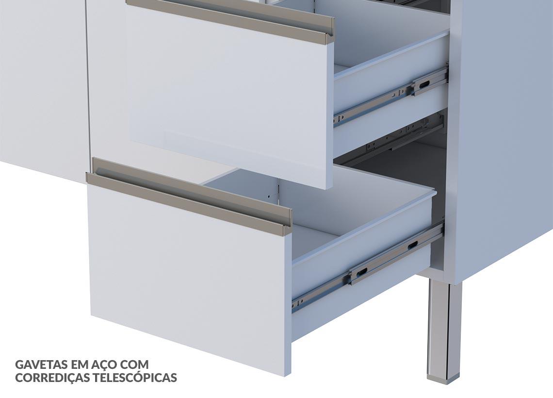 Balcão Triplo em Aço Gaia Flat Cozimax - Branco
