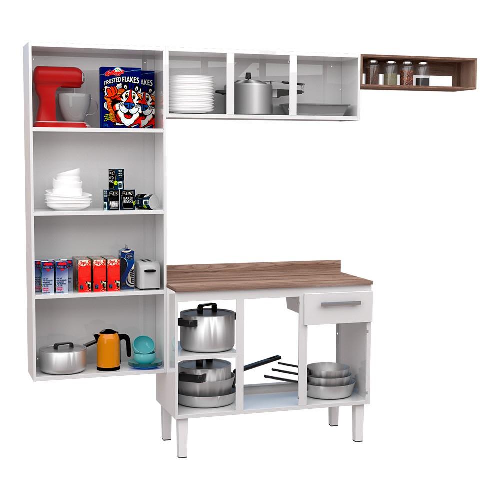 Cozinha Compacta em Aço Alecrim Cozimax 4 Peças - Branca
