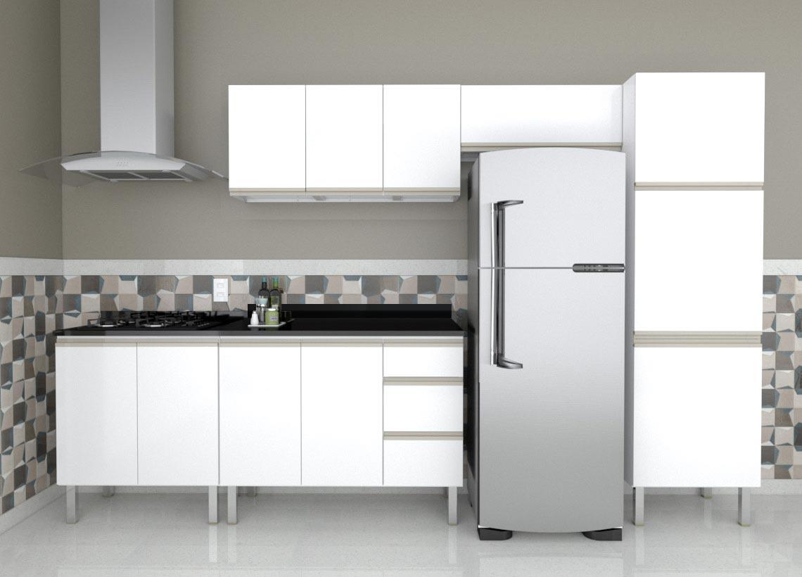 Cozinha Completa em Aço Gaia Flat  Cozimax 5 Peças com Balcão para Cooktop sem Tampo - Branca