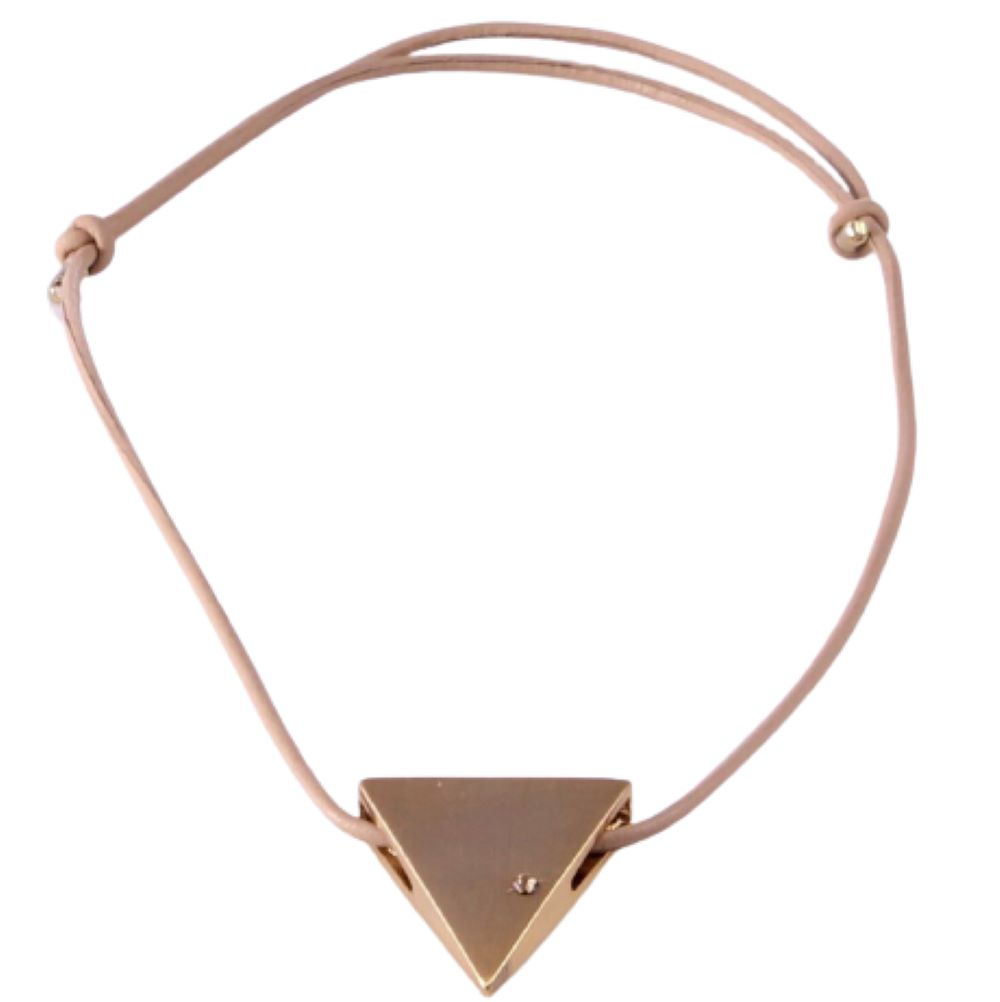 Colar Feminino de Couro Enfeite Triângulo