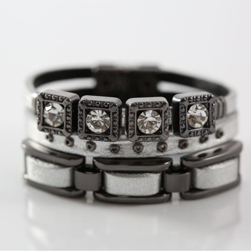 Pulseira Cartier Glam - Couro Prata
