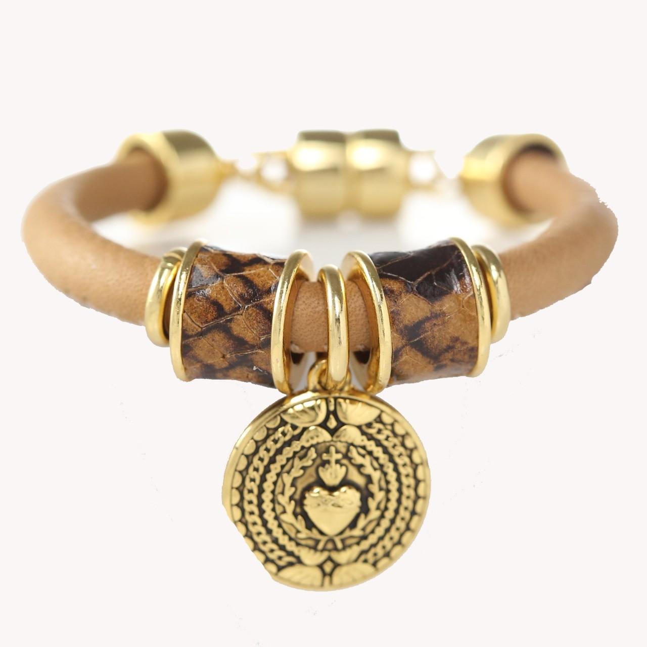 Pulseira Tira Redonda Coração Sagrado - Camel Croco com Ouro