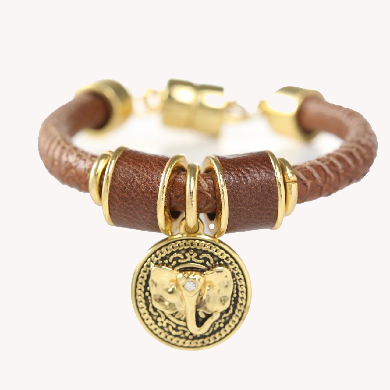 Pulseira Tira Redonda Elefante - Camel Croco com Ouro
