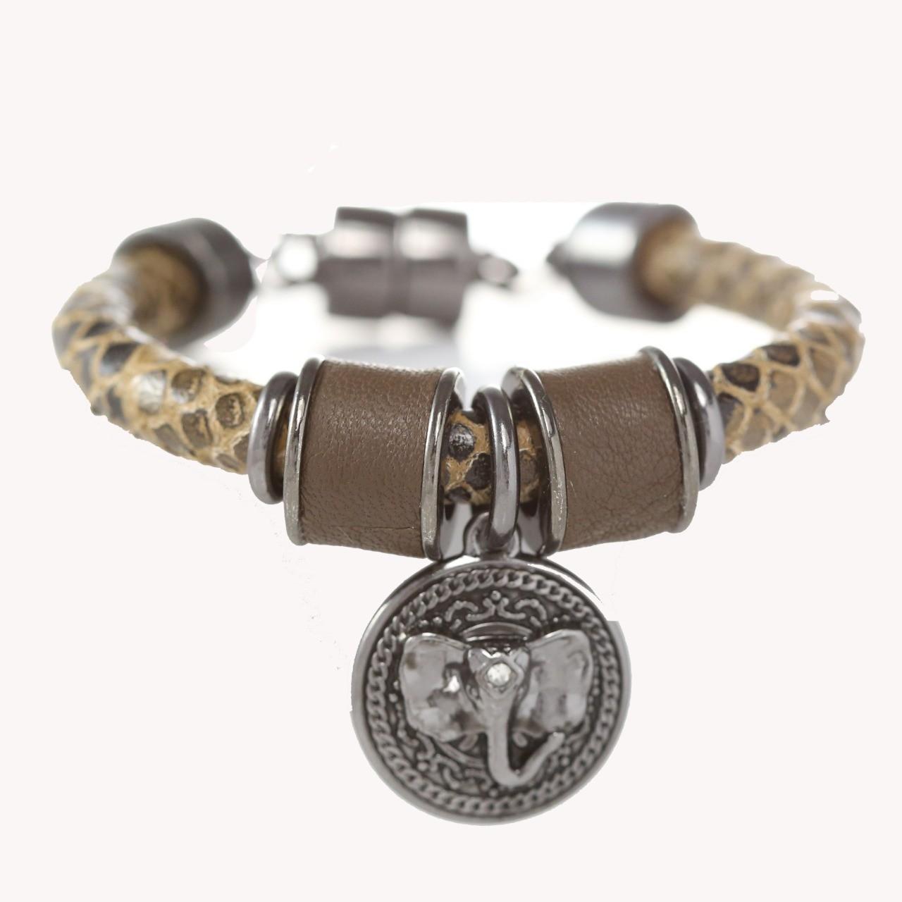 Pulseira Tira Redonda Elefante - Croco Militar com ônix