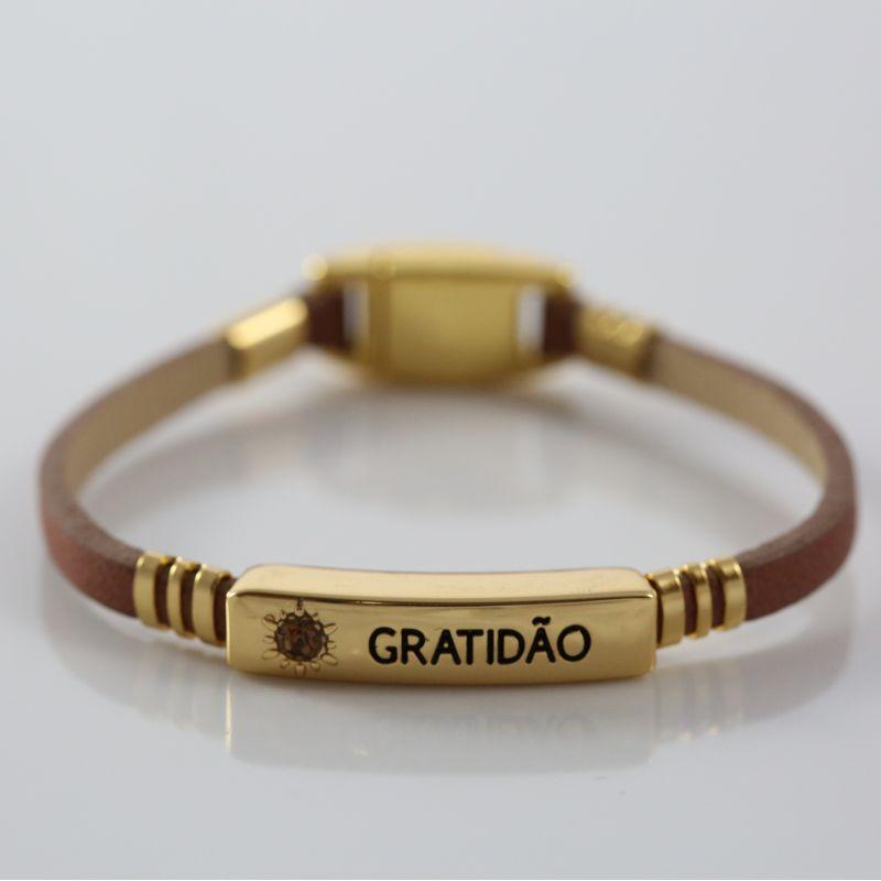 Pulseira Virtude Filha Única/Gratidão - Camel Ouro com Ouro
