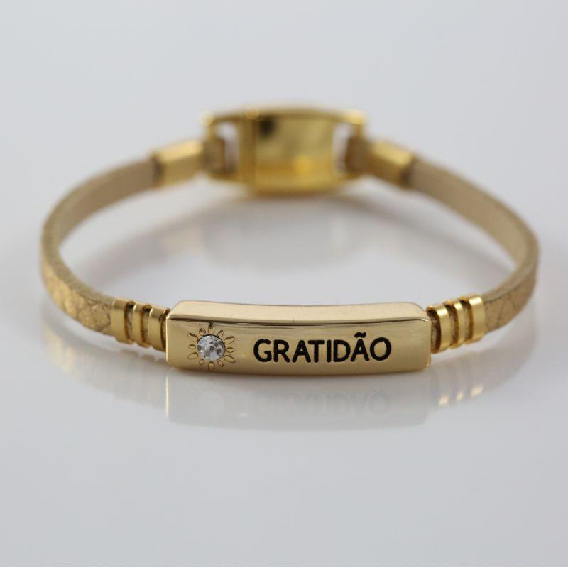 Pulseira Virtude Filha Única/Gratidão - Escama Ouro com Ouro