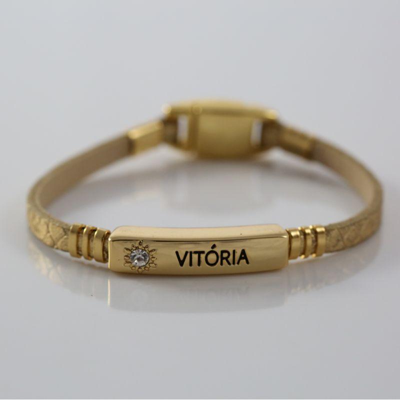 Pulseira Virtude Filha Única/Vitória - Ouro Escama com Ouro