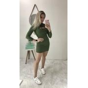 Vestido Canelado Capuz Verde