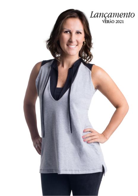Blusa gestante de amamentação Sport - Cinza com preto