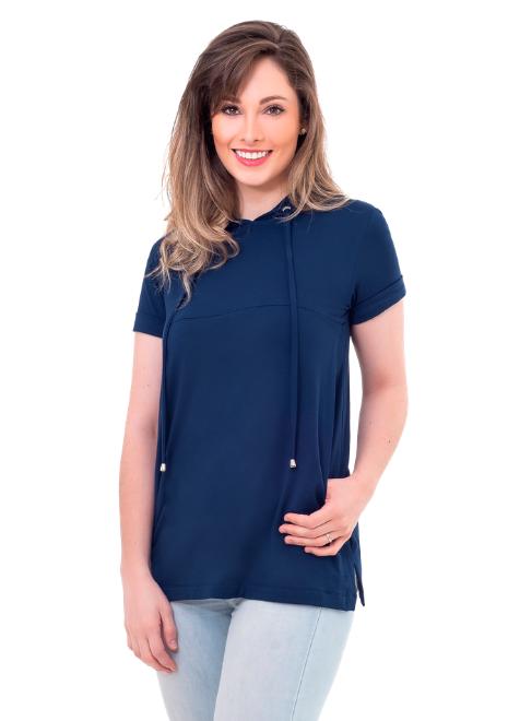 Blusa gestante de amamentação Claire - Azul Marinho